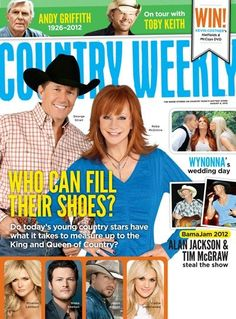 """The """"King and Queen"""" of country music,George Strait and Reba McEntire, are on the cover of the Aug. 6 edition of Country Weekly, on stands now. Courtesy"""