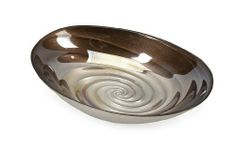 """IMAX Spiral Small Glass Bowl by IMAX. $33.51. 100 Glass. Inspired by the ripples of the moody ocean waters and the neutral shades of sandy beaches, the small Spiral glass bowl mimics the inside of a treasured clam shell found on a romantic walk on the beach. Food safe. Dimensions:(12.75""""h x 8.75""""w x 2.75"""") Some assembly may be required. Please see product details.. Save 39%!"""