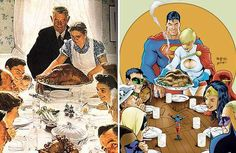I love comic book renditions of Norman Rockwell. This one is the Thanksgiving Dinner (with the Justice League).