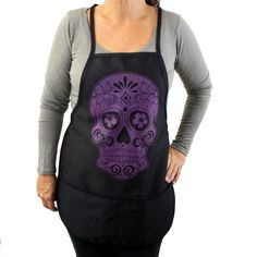 Purple Leopard Boutique - Black Cotton Apron with Purple Day of the Dead Skull, $24.00 (http://www.purpleleopardboutique.com/black-cotton-apron-with-purple-day-of-the-dead-skull/)