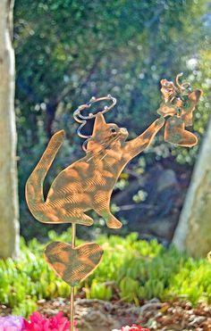Cat Garden Art Pet Memorial Metal Yard Art Stake, Metal Garden Art, Copper Garden Art, Grave Marker, Outdoor Pet Sculpture, Yard Art Sign