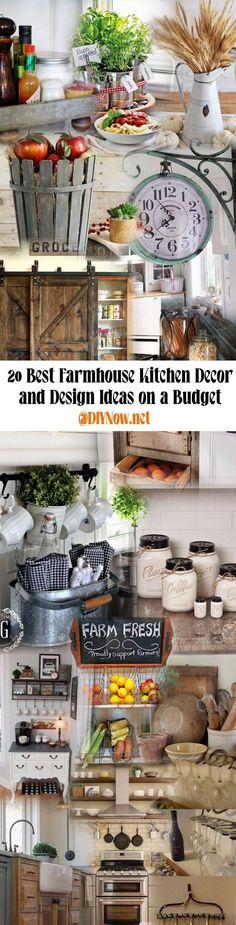 20 Best Farmhouse Kitchen Decor and Design Ideas on a Budget #kitchenonabudget
