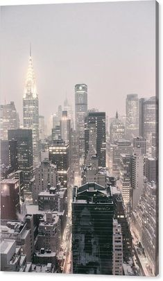 New York City - Snow Covered Skyline Canvas Print by Vivienne Gucwa. All canvas prints are professionally printed, assembled, and shipped within 3 - 4 business days and delivered ready-to-hang on your wall. Choose from multiple print sizes, border colors, and canvas materials. New York Wallpaper, City Wallpaper, Tumblr Wallpaper, New York Winter, New York Life, Nyc Life, New York Art, City Aesthetic, Travel Aesthetic