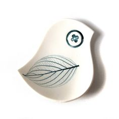 Mid century modern style Blue bird bowl White porcelain Teal leaf imprint Unique handmade small ceramic dish for soap rings jewelry candles