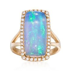 Ross-Simons - Blue Ethiopian Opal and .32 ct. t.w. Diamond Ring in 14kt Yellow Gold - #861615