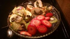 Summer squash, turkey tenderloin stuff with spinach and mushrooms, and fresh strawberry &kewi salad sheer delight