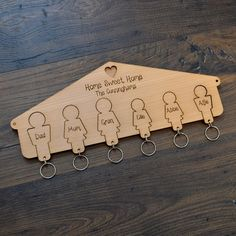 Family Keyring Hanger Hooks for Keys Housewarming New Home Wooden Keyrings Gift - Pretty Personalised