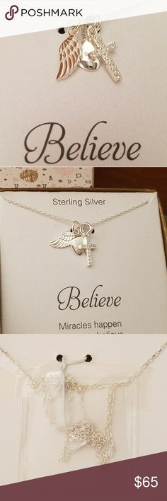 925 Sterling Silver Necklace NWT Adorable! Angel Wing, Heart & Cross on a 18 inch chain. Very dainty! Wear with other necklaces or wear alone. Great gift idea🖤 Jewelry Necklaces