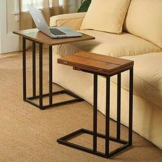 For laptops and coffee instead of 2 side tables - just idea Bed Table, Laptop Table For Bed, Table Tray, Serving Table, Laptop Stand For Bed, Recliner Table, Bed Side Table Ideas, Laptop Desk, Bed Ideas