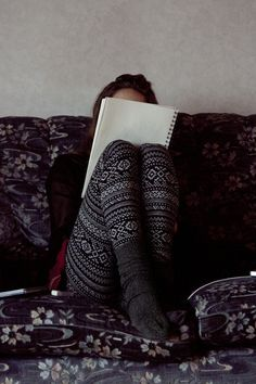 Every day for fall--printed leggings, cozy socks, writing all day long.