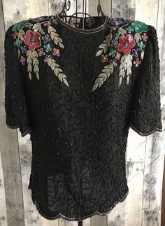 VTG Laurence Kazar Silk Sequin Beaded Silk Top Blouse Bling Black Petite Medium  #LaurenceKazar #Top
