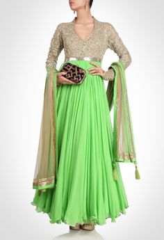 Green anarkali with frilled border beige colored sequinned bodice. Shop Now: www.kimaya.in