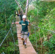 Campo Rico Ziplining Adventure: The tourists will cross our canopy bridges safely sustained through their harness to a cable. #Travel