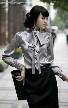 Silver blouse + black pencil skirt