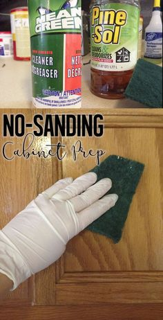 How To Paint Cabinets Without Sanding - - I love painting cabinets . well, I love the result of painting cabinets. The act of painting really isn't bad either, but I HATE sanding the cabinets beforehand. It's a lot of work,…. Old Kitchen Cabinets, Kitchen Paint, Kitchen Redo, Kitchen Ideas, Kitchen Makeovers, Kitchen Designs, Restaining Kitchen Cabinets, Distressed Kitchen Cabinets, Basement Kitchen