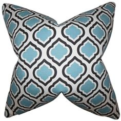 Let your living space exude a sophisticated look with this gorgeous accent pillow. This throw pillow features a unique geometric pattern in shades of blue, black and white. Decorate your living room or bedroom with a few pieces of this 100% cotton-made square pillow. Crafted in the USA. $55.00  #pillows  #homedecor  #interiorstyling  #bluepillow