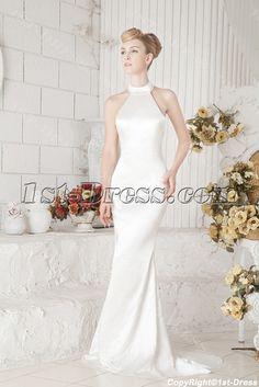 Sheath Halter Informal Wedding Dress for Beach:1st-dress.com