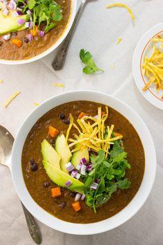Smokey Sweet Potato and Black Bean Soup (gluten free, vegan)