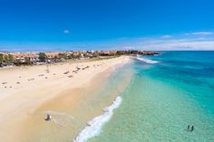 Aerial view of Santa Maria beach in Sal Cape Verde - Cabo Verde , The Tourist, Santa Maria Beach, Celebs Go Dating, Hotels, Lifetime Movies, Cape Verde, It Movie Cast, Amazing Sunsets, Life Is Hard