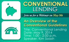 Join us Friday, May 9th from 1:00 - 2:00pm as we discuss an overview of the Conventional Guidelines at our Conventional Lending Webinar.   Click the link to register:  https://www2.gotomeeting.com/register/894105906   #mortgage #ConventionalLending #mountainwestfinancial