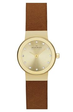 Skagen+'Freja'+Crystal+Index+Leather+Strap+Watch,+22mm+available+at+#Nordstrom