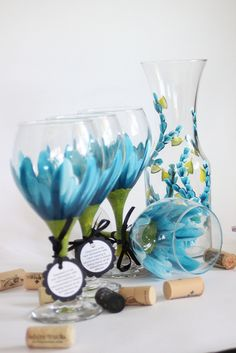 Hand painted dishwasher safe stemware by Judi Painted it. 20oz wine goblets are $24 each. View and shop more designs and glassware at judipaintedit.com or http://www.etsy.com/shop/JudiPaintedit?ref=top_trail Free personalization