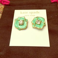 KS pierced mint green flower w/ crystal 14k goldF Rose Garden enamel collection Elegant or casual Brand new kate spade Jewelry Earrings