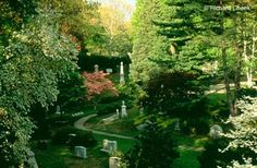 """Mt. Auburn Cemetery, Cambridge, MA   Our founders believed that burying and commemorating the dead was best done in a tranquil and beautiful natural setting at a short distance from the city center. They also believed that the Cemetery should be a place for the living, """"embellishing"""" the natural landscape with ornamental plantings, monuments, fences, fountains and chapels. This inspired concept was copied widely throughout the United States, giving birth to the rural cemetery movement and…"""