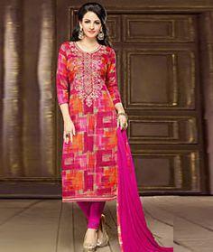 Buy Magenta Cambric Churidar Salwar Kameez 73037 online at lowest price from huge collection of salwar kameez at Indianclothstore.com.