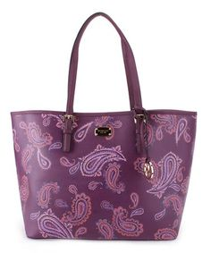 Plum Paisley Jet Set Leather Tote