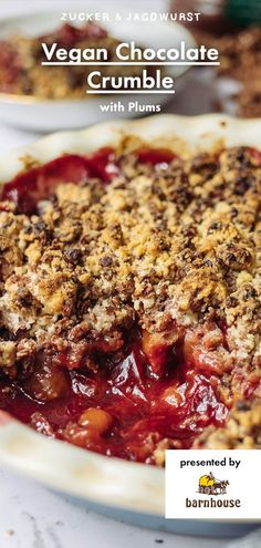 Best Chocolate Crumble with Plums #recipe #easy #dessert