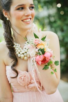 Pink and Yellow Wrist Corsage | photography by http://www.kristynhogan.com/