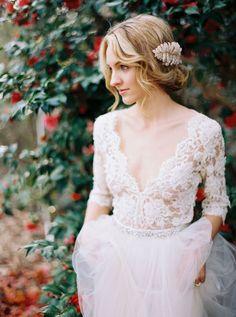 nude lace bodice wedding dress