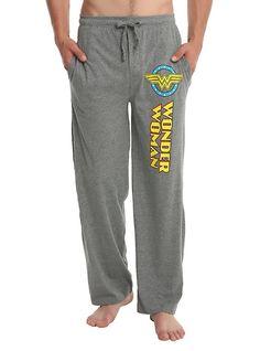DC Comics Wonder Woman Guys Pajama Pants, GREY