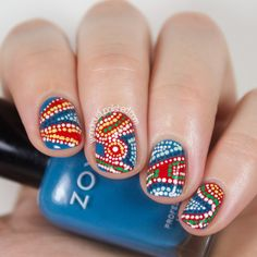 Wondrously Polished: 31 Day Challenge 2.0, Day 8 - Dotticure: Aboriginal Artwork inspired Nail Art