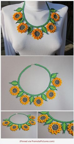 Huichol necklace Huichol flowers Huichol jewelry Mexican jewelry Necklace with sunflower Necklace with orange flowers Pretty necklace Beaded Flowers Patterns, Beaded Earrings Patterns, Beading Patterns, Beading For Kids, Beadwork Designs, Mexican Jewelry, Bead Crochet Rope, Pretty Necklaces, Handmade Jewelry Designs