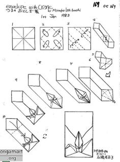 ..Crease pattern for origami envelope with crane.
