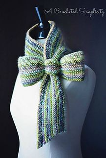 "Crochet Pattern: ""Knit-Look"" Bow Tie Cowl / Scarf from A Crocheted Simplicity  #crochet #handmade #crochetcowl #crochetscarf #bowtie #crochetpattern #knitlook"