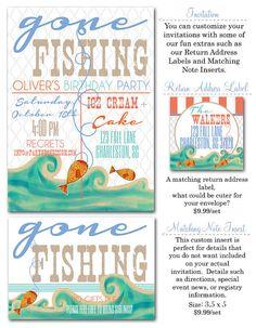 Gone Fishing Birthday Party Invitation by MerryLoveJoy on Etsy