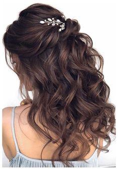 Half Up Curls, Half Up Half Down Hair Prom, Wedding Hairstyles Half Up Half Down, Wedding Hair Down, Wedding Hair And Makeup, Brown Wedding Hair, Wedding Updo, Bridesmaid Hair Half Up Medium, Half Up Half Down Hair Tutorial