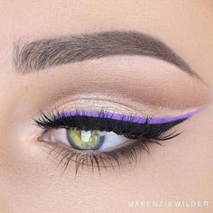 A bright liner over a black liner - what a fun way to switch things up! ⚡️@makenziewilder applied our Vivid Brights Liner in 'Vivid Blossom.' || #nyxcosmetics