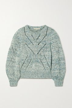 Vanessa Bruno Norren Cropped Cotton-blend Sweater In Turquoise Vanessa Bruno, Personal Shopping, Fashion Advice, Bucket Bag, Knitwear, Men Sweater, Blue And White, Turquoise, Knitting