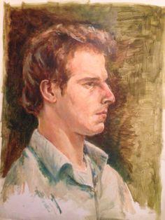 Jongeman. Olieverf op papier. 2005