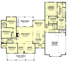 Farmhouse Style House Plan - 4 Beds 2.5 Baths 2686 Sq/Ft Plan #430-156 Floor Plan - Main Floor Plan - Houseplans.com