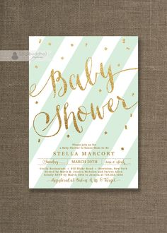Mint Green & Gold Baby Shower Invitation Gold Glitter Pastel Green Mint Gender Neutral Script Modern Printable Digital or Printed- Stella on Etsy, $20.00