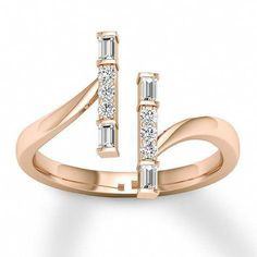 ae99f7020388 Diamond Ring 1 4 ct tw Round Baguette 10K Rose Gold - 120684509 -