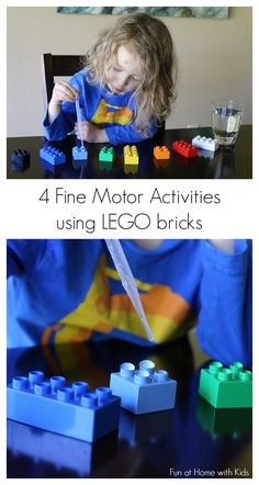 Four easy to set-up and fun activities to practice fine motor skills using LEGO bricks from Fun at Home with Kids