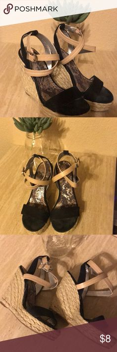 BCBG WEDGED HEELS 👠 VERY CUTE SHOES! BCBG WEDGED HEELS! Still in great condition just have to glue the lining on the left shoe.  It does have toe markings. I did clean as best I I could.  💨 free home 🏡 BCBG Shoes Heels