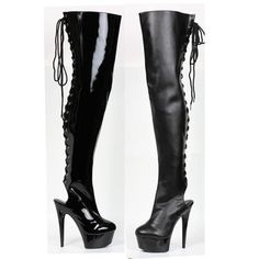 """6"""" Lace Up Black Boot With Open Heel"""