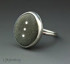 Beach Stone Jewelry Silver Ring Summer Style Pebble by LjBjewelry, $120.00